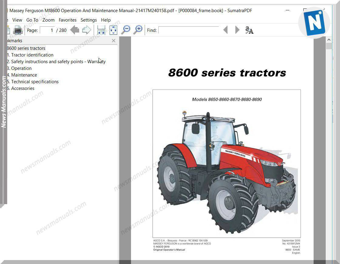 Massey Ferguson Mf8600 Operation And Maintenance Manual