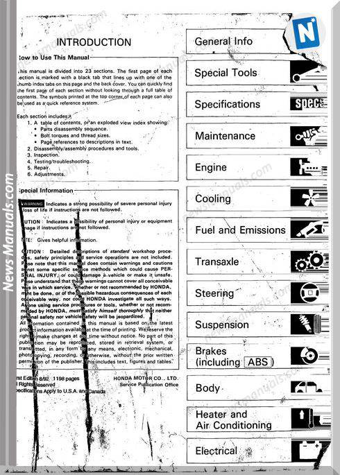 Acura Integra Da9 Db1 Db2 93 Service Manual