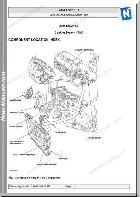 Acura Tsx Engine Cooling System 2003 2008