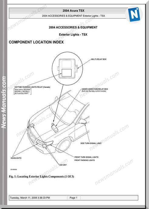 Acura Tsx Exterior Lights Service Repiar Manual