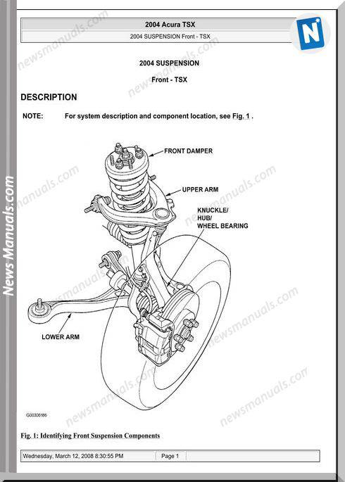 Acura Tsx Front Suspension Repair Manual 2003 2008