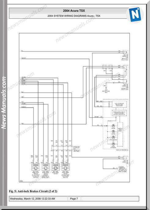 Acura Tsx System Wiring Diagrams 2003 2008