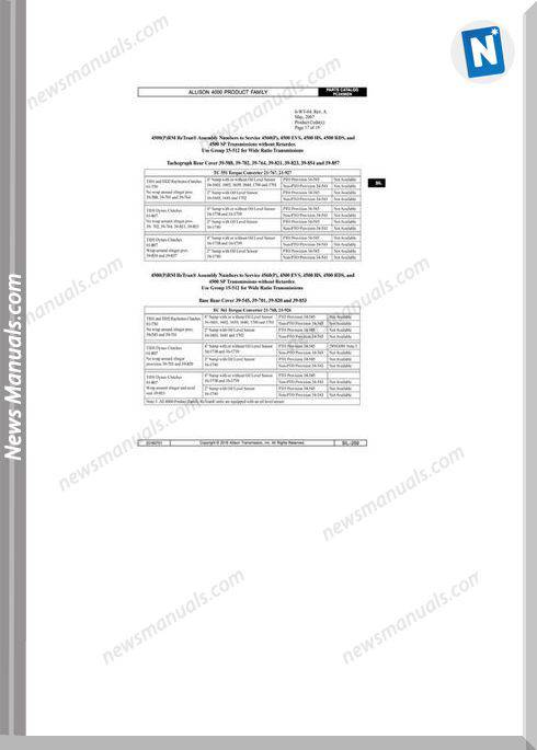 Allison Transmission 4000 Series Parts Manual
