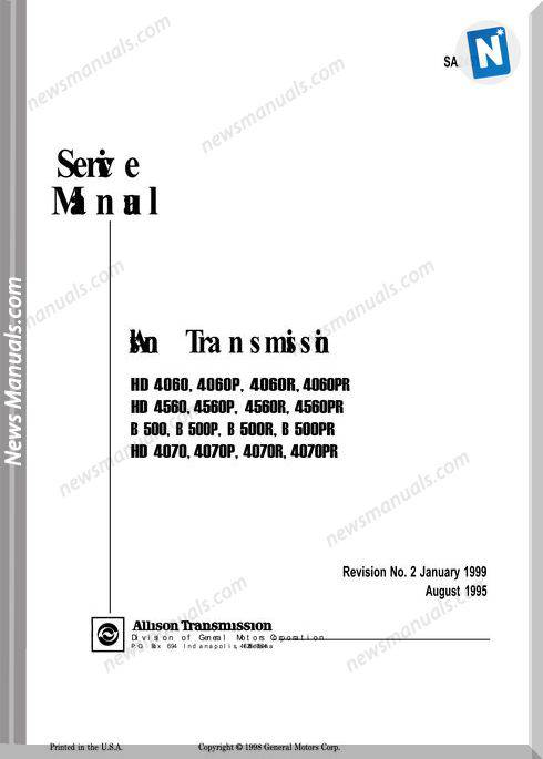 Allison Transmission Sa2457B 1999 Service Manual