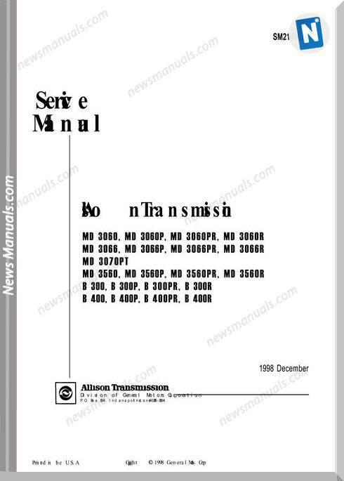 Allison Transmission Sm2148En 1998 Service Manual