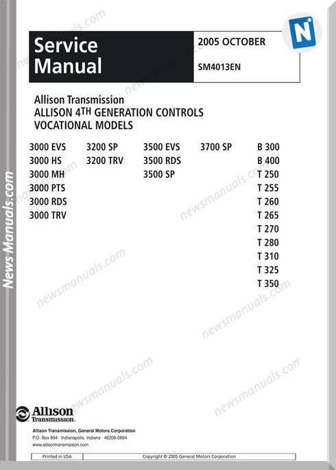 Allison Transmission Sm4013En 2005 Service Manual