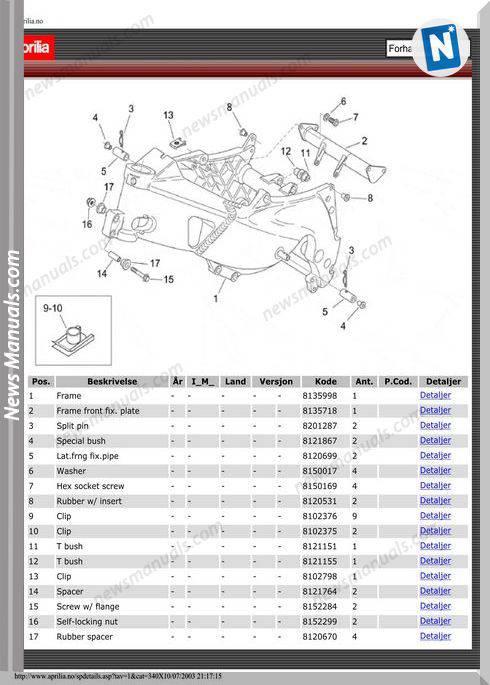 Aprilia Rs125 Parts Diagrams