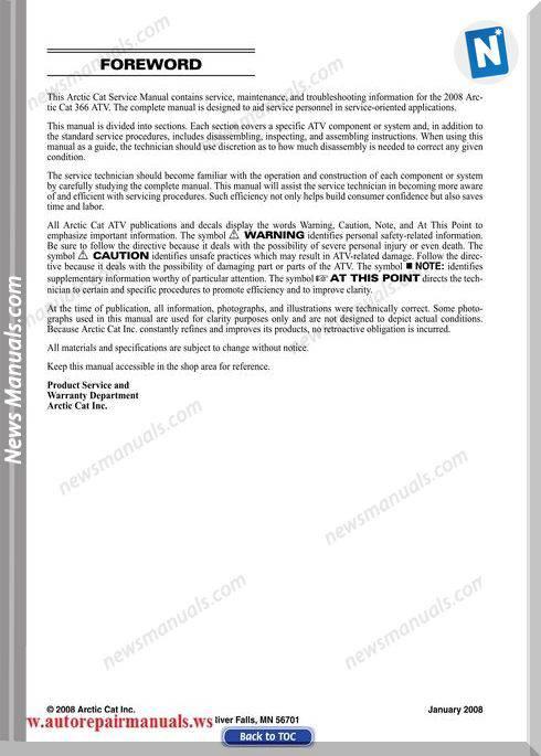 Arctic Cat 366 2008 Service Manual