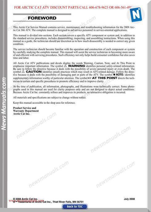 Arctic Cat 366 2009 Service Manual