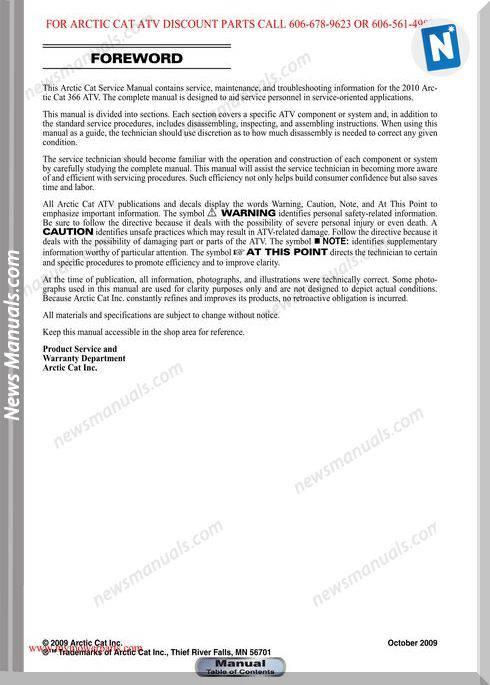Arctic Cat 366 2010 Service Manual