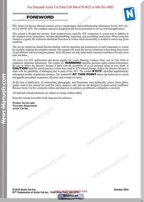 Arctic Cat 366Se 366 Se 2011 Service Manual