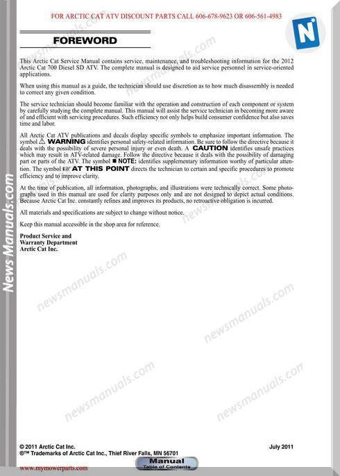 Arctic Cat 700 Diesel Sd 2012 Service Manual