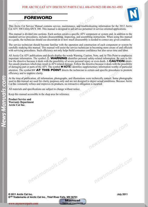 Arctic Cat Dvx 300 300 Utility 2012 Service Manual