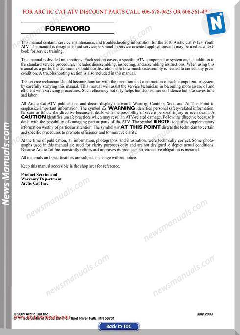 Arctic Cat Dvx 90 And 90 Utility 2010 Service Manual