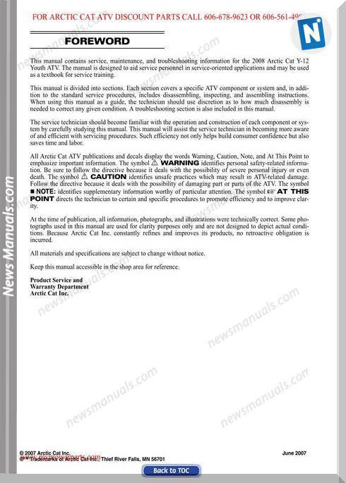 Arctic Cat Dvx 90 Utility 90 2008 Service Manual