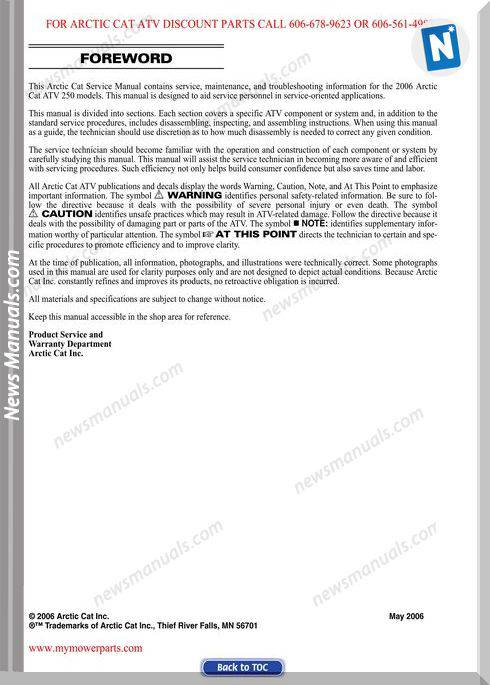 Arctic Cat Dvx Utility 250 2006 Service Manual