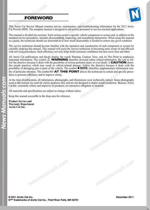 Arctic Cat Prowler Hdx 2012 Service Manual