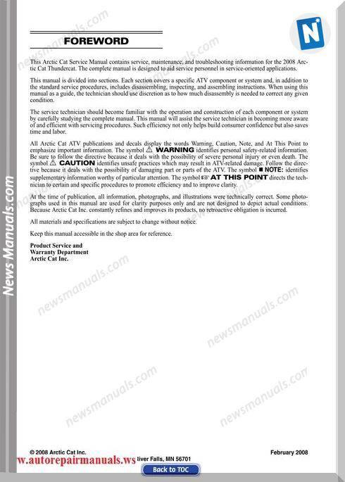 Arctic Cat Thundercat 2008 Service Manual
