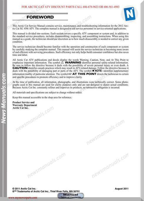 Arctic Cat Xl450I Xl 450I 2012 Service Manual