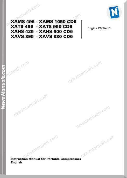 Atlas Copco Models Xams496 1050 Cd6 Instruction Manual