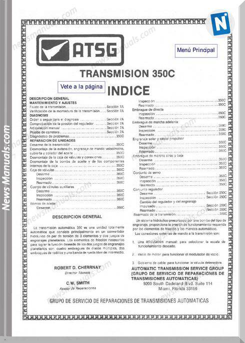 Atsg Transmission Models 350C Workshop Manual Spanish