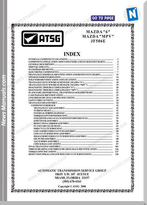Atsg Transmission Models Jf506E Technical Service