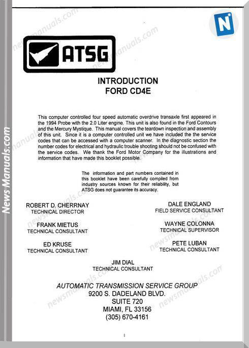 Atsg Transmission Vcd4E Technical Service