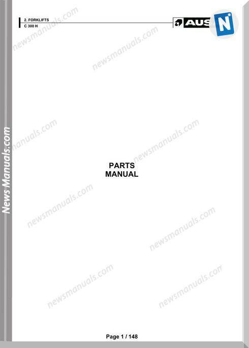 Ausa Forklift Models C300H Parts Manual