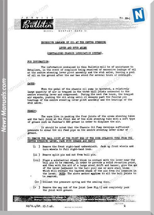 Bentley Mkvi And R Type Steering System Service Bulletins