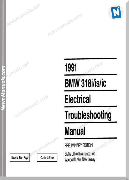 Bmw 318I 318Is 318Ic 1991Electrical Troubles Manual