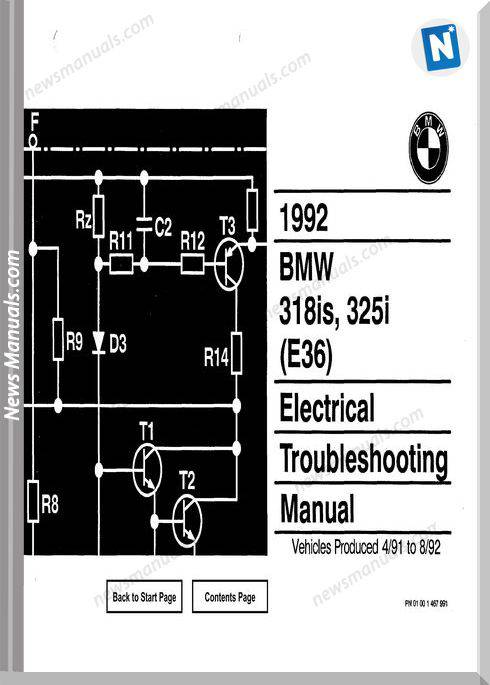 Bmw 318Is 325I 1992 Electrical Troubleshooting Manual