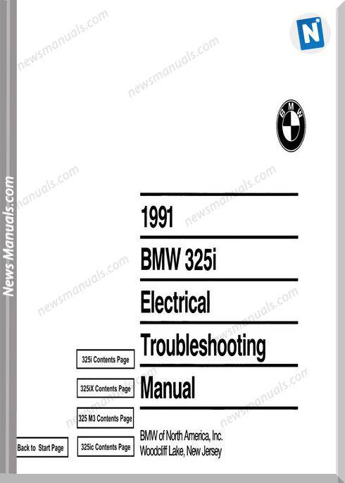 Bmw 325I 1991 Electrical Troubleshooting Manual