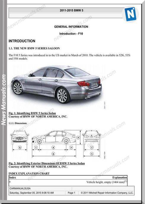 Bmw 5 Series F10 2010 To 2015 Service Repair Manual