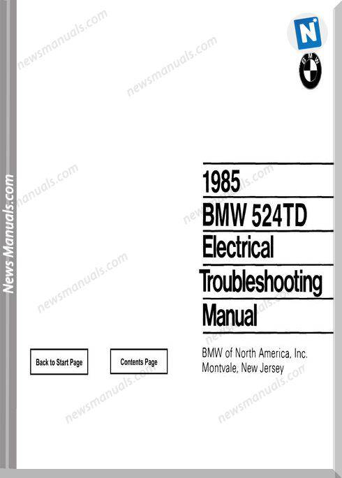 Bmw 524Td Electrical Troubleshooting Manual 1985
