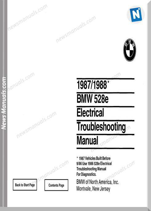 Bmw 528E Electrical Troubleshooting Manual 1987 1988