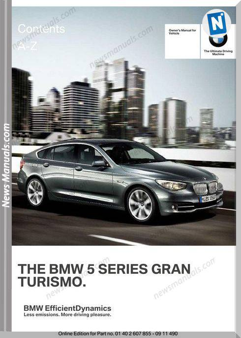 Bmw 5Gt Series 2012 Owners Manual