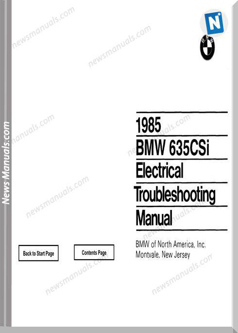 Bmw 635Csi Electrical Troubleshooting Manual 1985