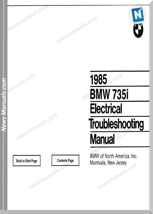 Bmw 735I Electrical Troubleshooting Manual 1985