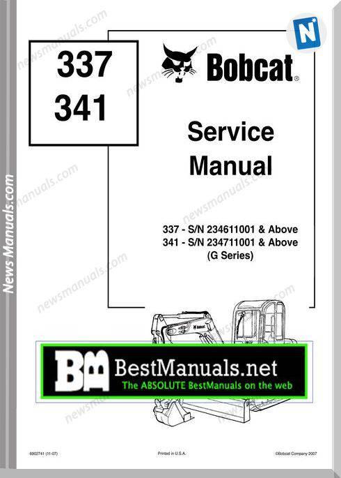 Bobcat 337 341 Compact Mini Excavato Repair Manual
