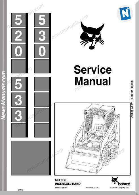 Bobcat 530 533 Skid Steer Loader Service Manual 6556407