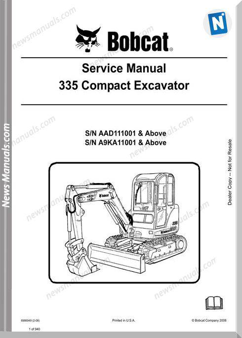 Bobcat Excavators 335 6986949 Service Manual 2 08