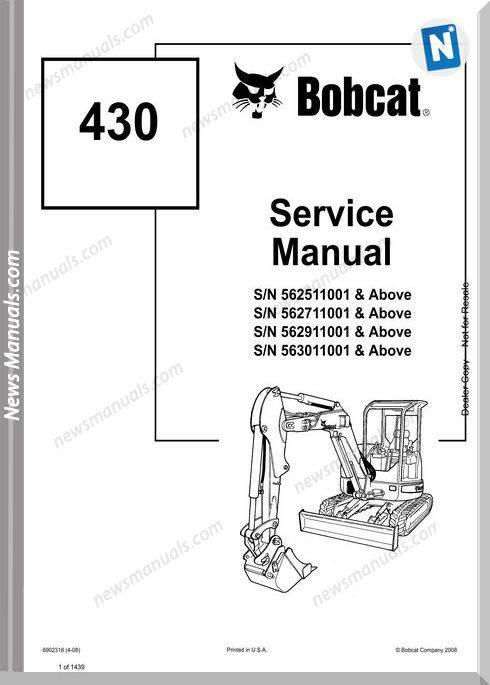 Bobcat Excavators 430 6902318 Service Manual 4 08