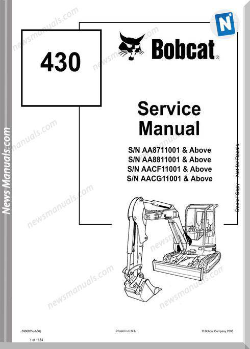 Bobcat Excavators 430 6986955 Service Manual 4 08