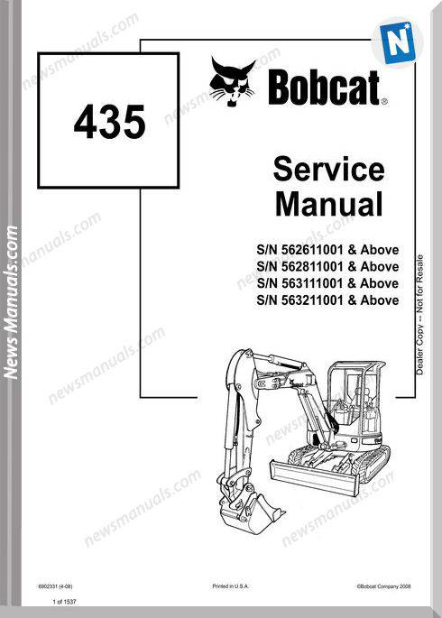 Bobcat Excavators 435 6902331 Service Manual 4 08