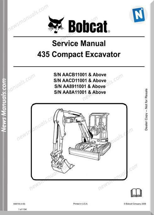 Bobcat Excavators 435 6986749 Service Manual 4 08