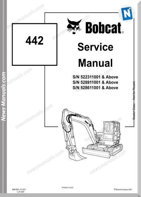 Bobcat Excavators 442 6901801 Service Manual 11 07