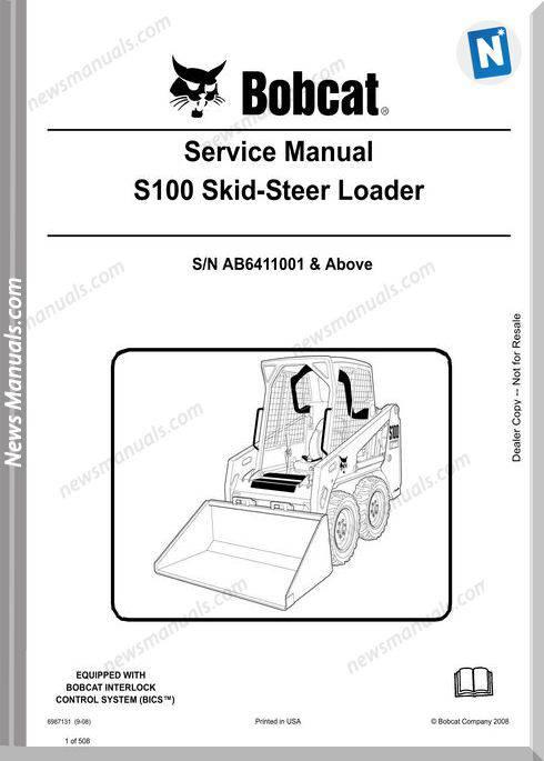 Bobcat S100 Skid Steer Loader Service Manual 6987131
