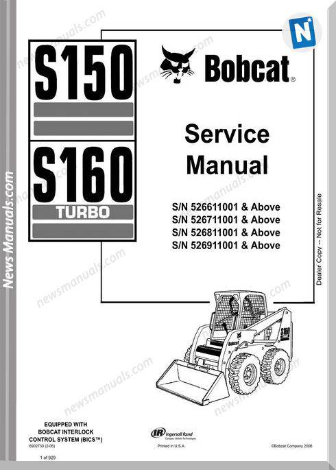 Bobcat S150 S160 Skid Loader Service Manual 6902730