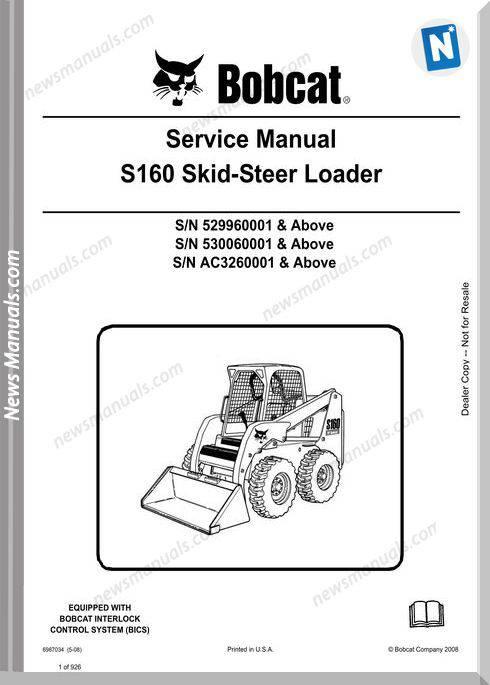 Bobcat S160 Skid Steer Loader Service Manual 6987034