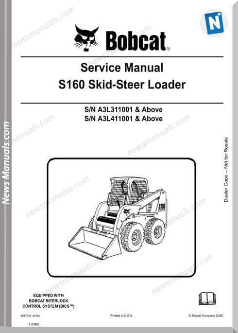 Bobcat S160 Skid Steer Loader Service Manual 6987048